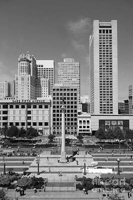 San Francisco - Union Square - 5d17941 - Black And White Poster by Wingsdomain Art and Photography