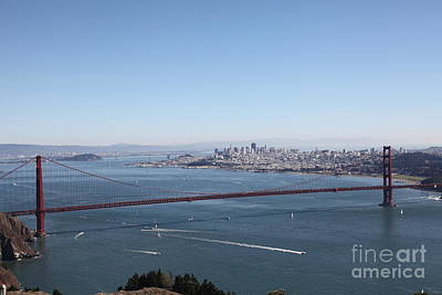 San Francisco Golden Gate Bridge And Skyline Viewed From Hawk Hill In Marin - 5d19629 Poster