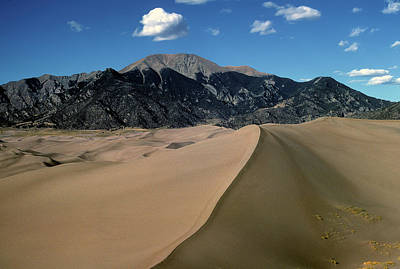 Sand Dunes With Mount Blanca Poster