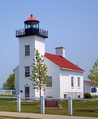 Poster featuring the photograph Sand Point Lighthouse In Escanaba Mi by Mark J Seefeldt