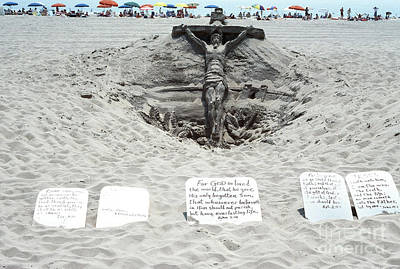 Sand Sculpture Christ On The Cross Poster by Thomas R Fletcher