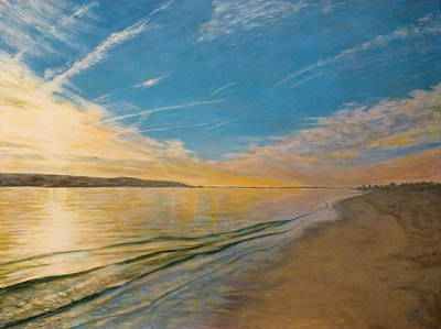 Poster featuring the painting Sandy Hook Bay by Joe Bergholm