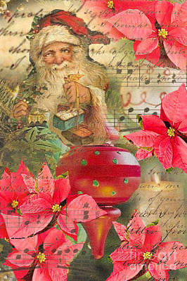 Santa In Ornaments Poster