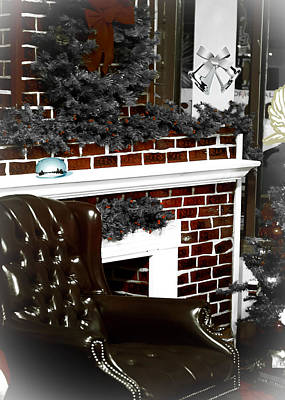 Santas Place By The Fireplace Poster by DigiArt Diaries by Vicky B Fuller