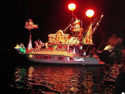 Santa's Sleigh Boat Poster