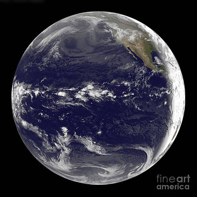 Satellite View Of Earth Centered Poster by Stocktrek Images
