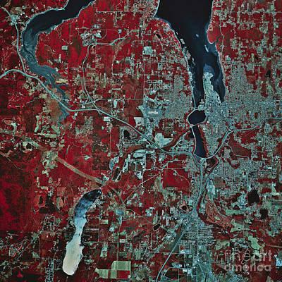 Satellite View Of Olympia, Washington Poster by Stocktrek Images