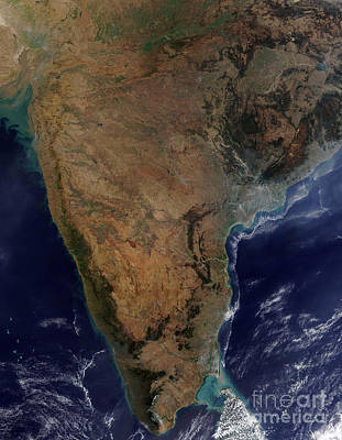 Satellite View Of Southern India Poster