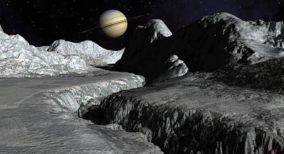 Saturn From The Surface Of Enceladus Poster by David Robinson