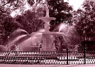 Savannah Fountain In Pink Poster