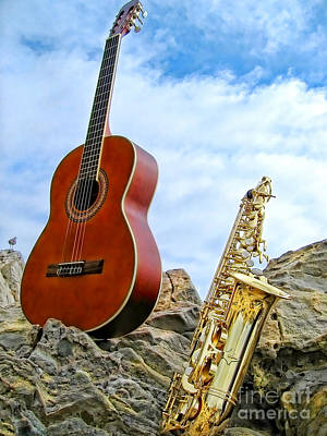 Sax And Guitar Poster by Jason Abando