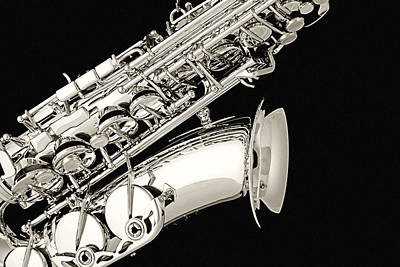 Saxophone Black And White Poster
