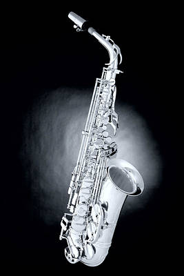 Saxophone On Spotlight Poster by M K  Miller