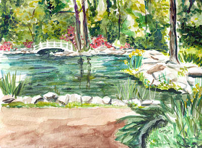 Poster featuring the painting Sayen Pond by Clara Sue Beym