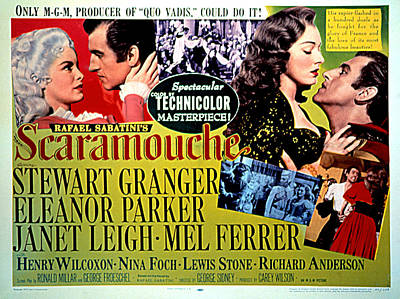 Scaramouche, Janet Leigh, Stewart Poster by Everett