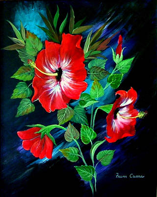 Poster featuring the painting Scarlet Hibiscus by Fram Cama