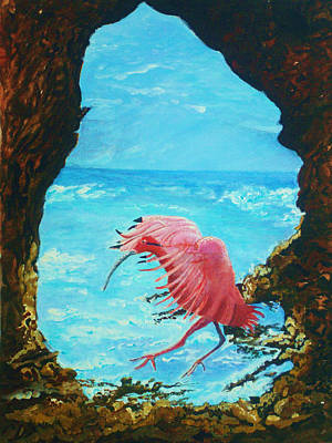 Poster featuring the painting Scarlet Ibis Landing by Joy Braverman