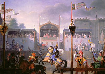 Scene Of A Tournament In The Fourteenth Century Poster by Pierre Henri Revoil