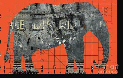 Schematic Elephant Juvenile Art Poster