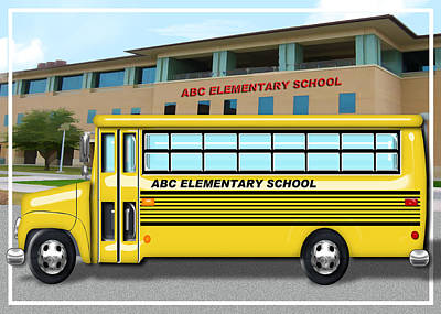 School Bus In Front Of School  Poster