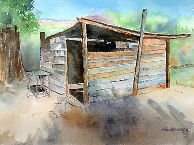 Poster featuring the painting School Cooking Shack - South Africa by Arline Wagner