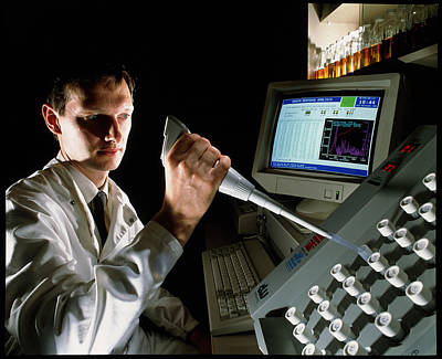Scientist Using An Automatic Culture Counter Poster
