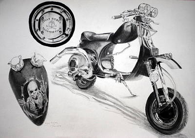 Poster featuring the drawing Scull Scooter by Lynn Hughes