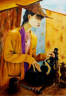 Poster featuring the painting Sculpturer by Itzhak Richter