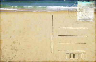 Sea Beach On Postcard  Poster
