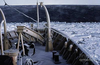 Sea Smoke, Sea Ice, And Icicles Poster