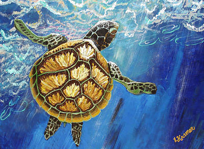 Sea Turtle Takes A Breath Poster by Lisa Kramer