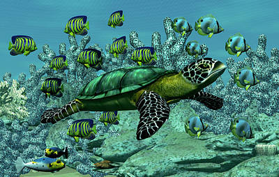Poster featuring the digital art Sea Turtle by Walter Colvin
