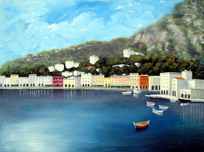 Poster featuring the painting Seaside Town by Larry Cirigliano