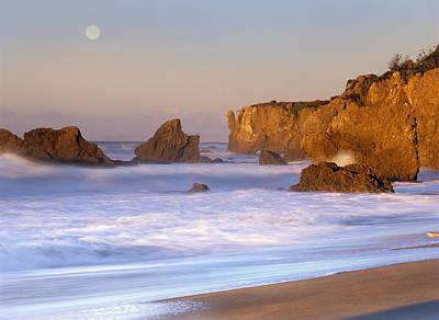 Seastacks And Full Moon At El Matador Poster by Tim Fitzharris