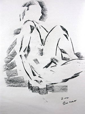 Poster featuring the drawing Seated Male by Brian Sereda