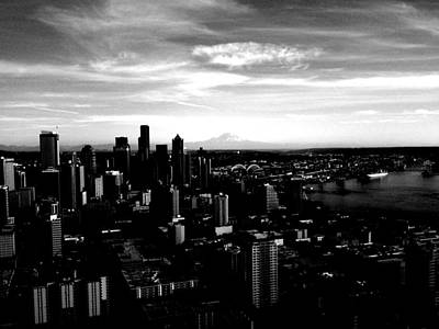 Seattle Cityscape Black And White Poster by J Von Ryan