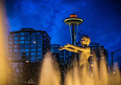 Poster featuring the photograph Seattle Rain Boy by Ken Stanback