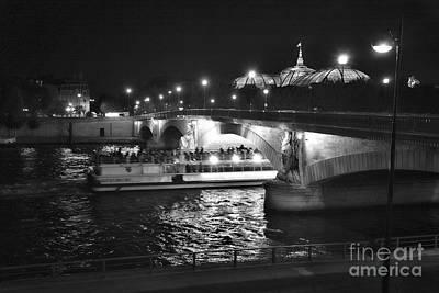 Seine Paris Night Poster by Chuck Kuhn