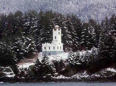 Sentinel Island Lighthouse In The Snow Poster by Myrna Bradshaw