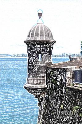 Sentry Tower Castillo San Felipe Del Morro Fortress San Juan Puerto Rico Colored Pencil Poster by Shawn O'Brien