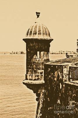 Sentry Tower Castillo San Felipe Del Morro Fortress San Juan Puerto Rico Rustic Poster by Shawn O'Brien