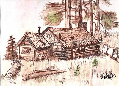 Sepia Cabin In Montana Poster by Windy Mountain