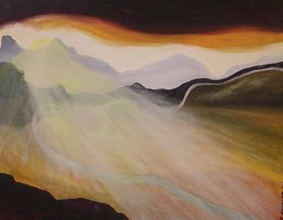 Setting Sun Along The Highway Poster by Robert Handler