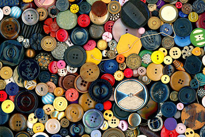 Sewing - Buttons - Bunch Of Buttons Poster by Mike Savad