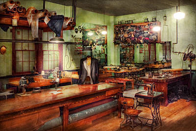 Sewing - Industrial - The Sweat Shop  Poster by Mike Savad