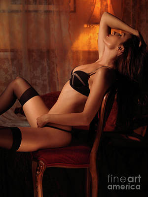 Sexy Young Woman Sitting In A Chair Poster by Oleksiy Maksymenko
