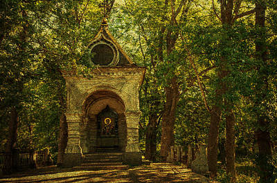 Shaded Chapel. Golden Green Series Poster by Jenny Rainbow