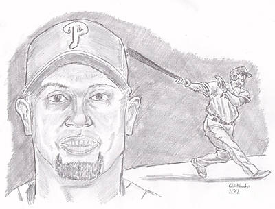 Poster featuring the drawing Shane Victorino- Flying Hawaiian by Chris  DelVecchio