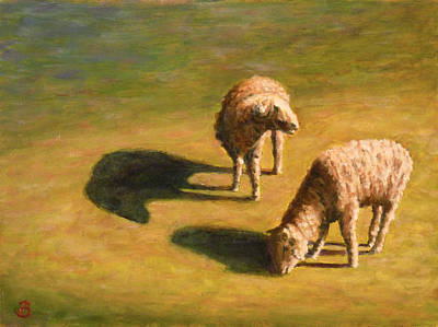 Poster featuring the painting Sheep Shapes Two  by Joe Bergholm
