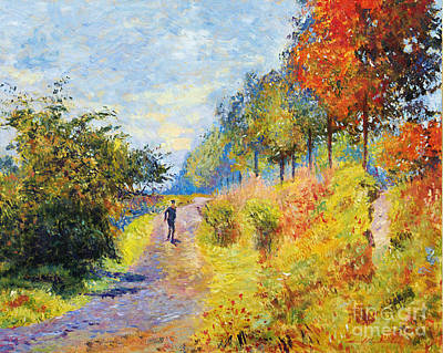 Sheltered Path - Sur Les Traces De Monet Poster by David Lloyd Glover